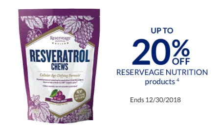 Up to 20% Off Reserveage Nutrition Products