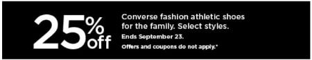 25% Off Converse Fashion Athletic Shoes for the Family from Kohl's