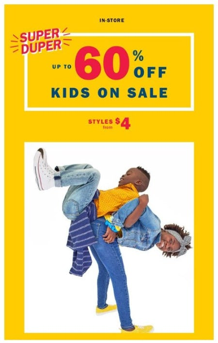 Up to 60% Off Kids on Sale from Old Navy