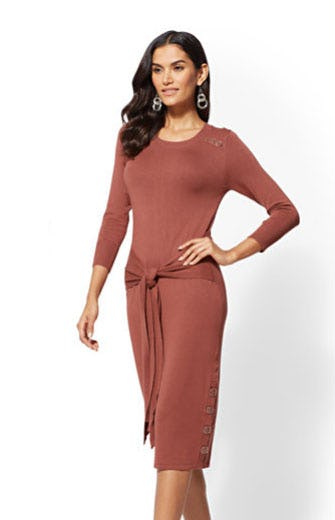 Button-Accent Tie-Front Sweater Dress from New York & Company