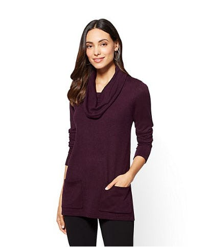 Cowl-Neck Tunic Sweater