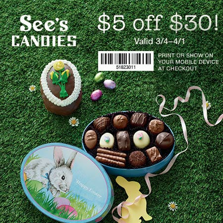 Enjoy $5 off $30* from See's Candies
