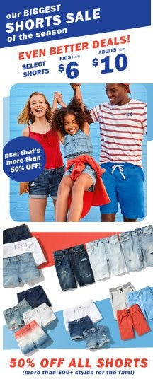 50% Off All Shorts from Old Navy