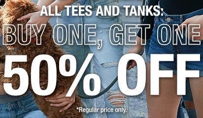 BOGO 50% Off All Tees & Tanks