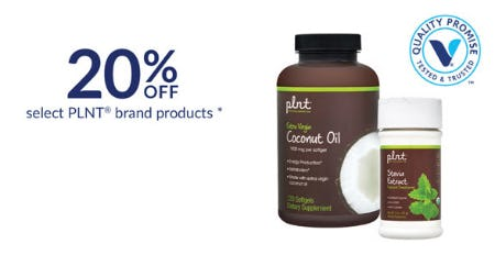 20% Off on Select Plnt Brand Products from The Vitamin Shoppe