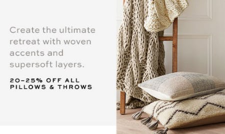 20-25% off All Pillows & Throws from Pottery Barn