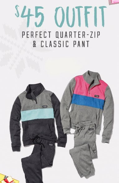 $45 PINK Outfit Perfect Quarter-Zip & Classic Pant