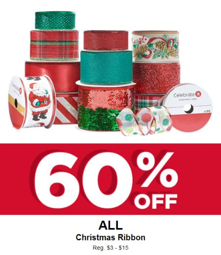 60% Off on All Christmas Ribbon from Michaels