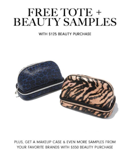 Free Tote Plus Beauty Samples with $125 Beauty Purchase