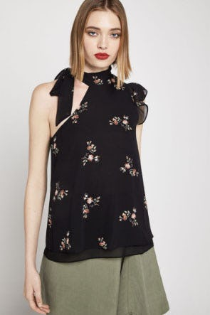 Fainting Flowers One-Shoulder Top from BCBG