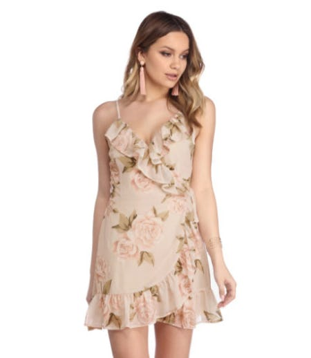 Natural Soft Spoken Floral Dress from Windsor