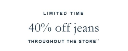 40% Off Jeans Throughout The Store from Abercrombie & Fitch