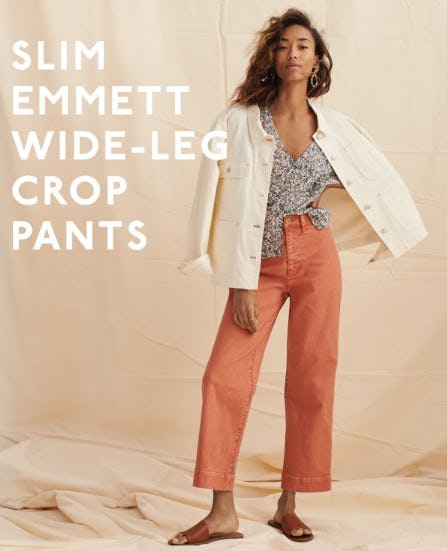 Slim Emmett Wide Leg Crop Pants from Madewell