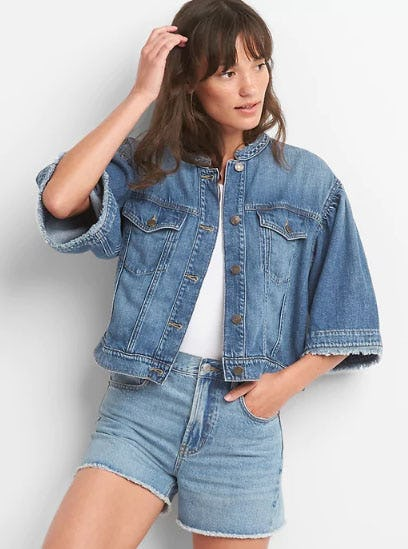 Icon Cropped Bell-Sleeve Denim Jacket from Gap