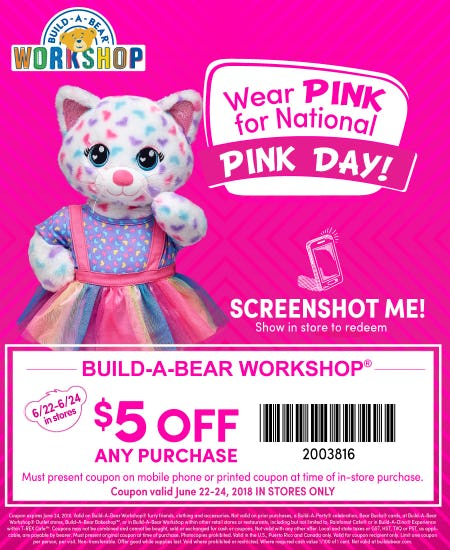 $5 off any purchase for National Pink Day!