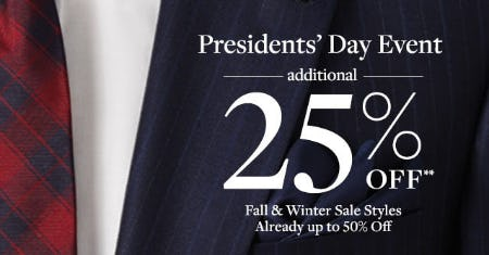 Extra 25% Off Presidents' Day Event