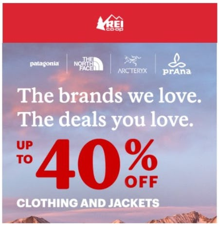 Up to 40% Off Clothing and Jackets from REI