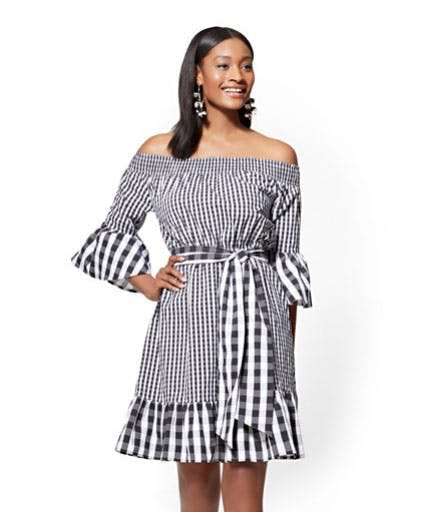 Gingham Off-The-Shoulder Flare Dress