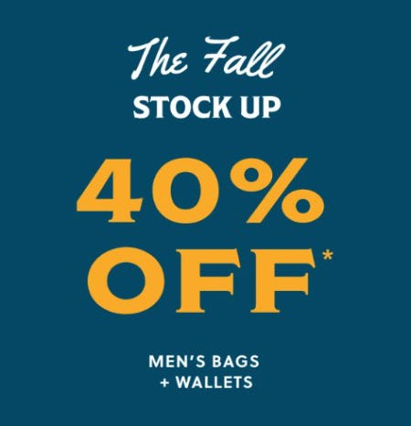 40% Off Men's Bags and Wallets from Fossil