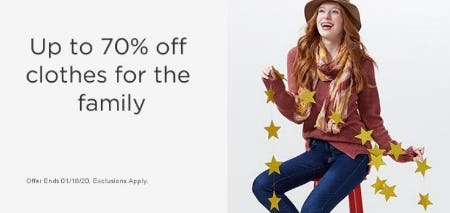 Up to 70% Off Clothes for the Family from Sears