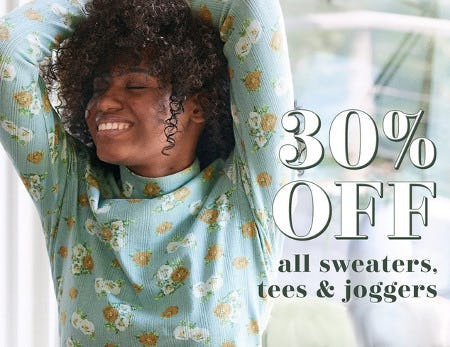 30% Off All Sweaters, Tees & Joggers from Aerie
