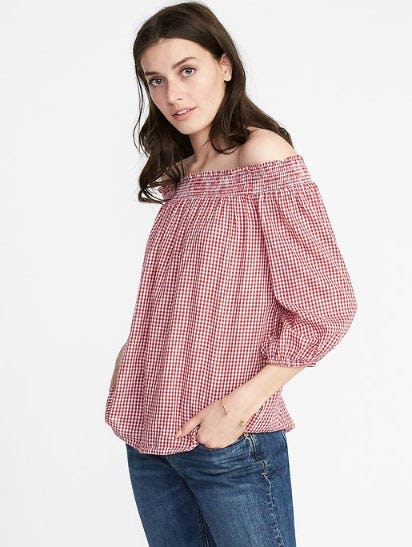 Off-The-Shoulder Gingham Top for Women from Old Navy