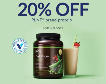 20% Off PLNT Brand Protein from The Vitamin Shoppe