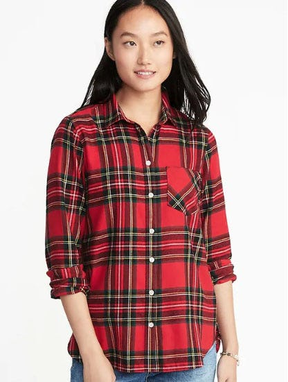 Relaxed Plaid Twill Classic Shirt for Women from Old Navy