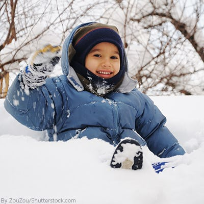Young boy sitting in the snow wearing a blue waterproof jacket and matching beanie