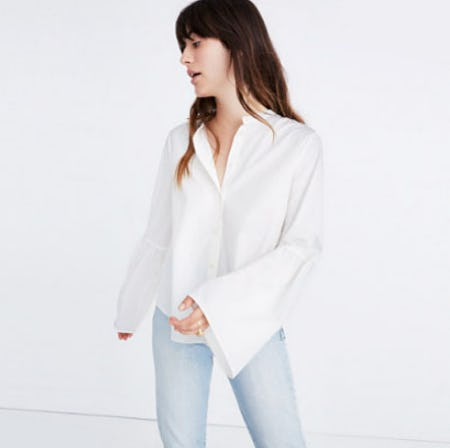 Bell-Sleeve Button-Down Shirt