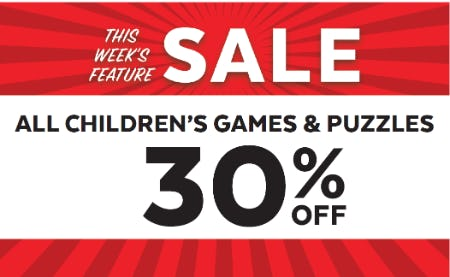 30% off All Children's Games and Puzzles from Go! Calendars Games & Toys