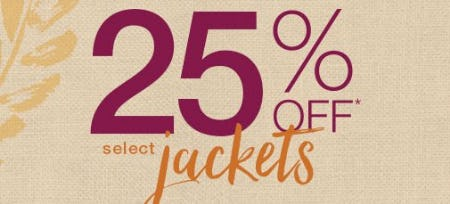 25% Off Select Jackets from maurices