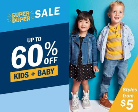 Up to 60% Off Kids & Baby Sale