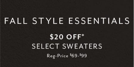$20 Off Select Sweaters