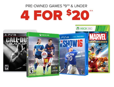 4 For $20 Pre-Owned Games