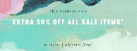 Extra 50% Off All Sale Items from Anthropologie