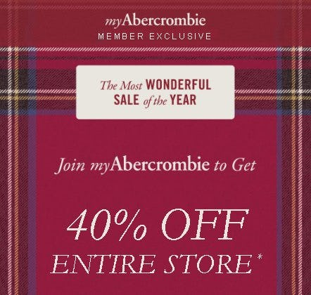 MyAbercrombie: Entire Store 40% Off from Abercrombie & Fitch