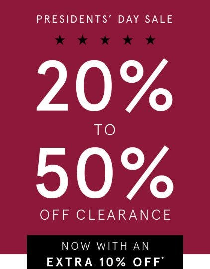 20% to 50% Off Clearance