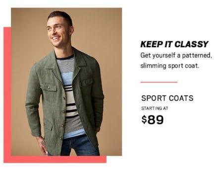 Sport Coats Starting at $89