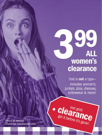 $3.99 All Women's Clearance from Gordmans