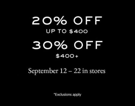Up to 30% Off with $400 or More Purchase
