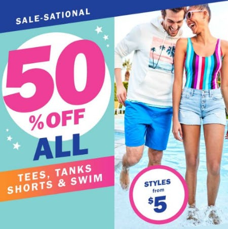 50% Off All Tees, Tanks, Shorts & Swim from Old Navy