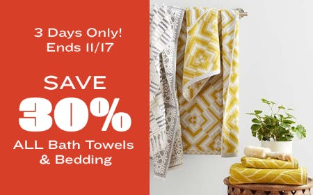 Save 30% on All Bath Towels & Bedding