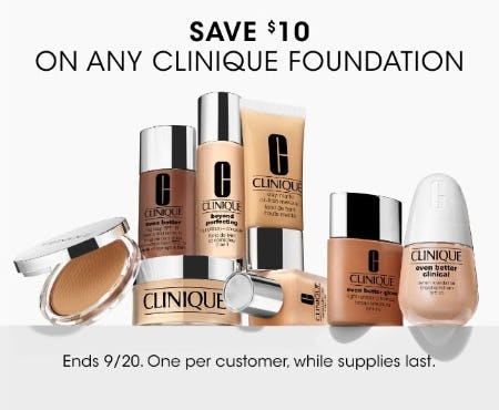 Save $10 on Any Clinique Foundation from Bloomingdale's