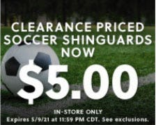 Clearance Priced Soccer Shinguards Now $5.00 from Hibbett Sports