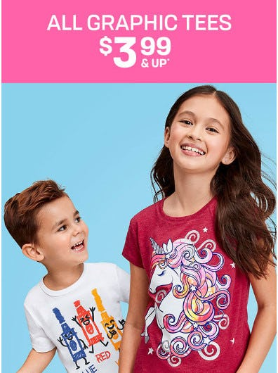 All Graphic Tees for $3.99 & Up from The Children's Place