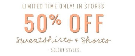 50% Off Sweatshirts & Shorts from Aerie