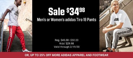 Men's or Women's Adidas Tiro 19 Pants $34.98