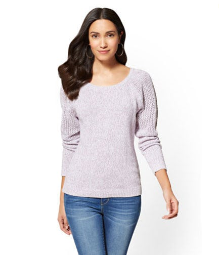 Open-Stitch Marled Sweater