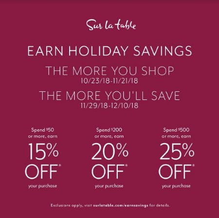 It's Earn Holiday Savings Time! from Sur La Table